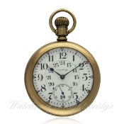 A GENTLEMAN`S GOLD FILLED WALTHAM VANGUARD POCKET WATCH CIRCA 1910 D: White enamel dial with applied