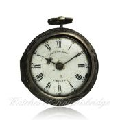 A SOLID SILVER REPOUSSE PAIR CASE FUSEE VERGE POCKET WATCH CIRCA 1768 BY RICHARDSON OF LONDON D: