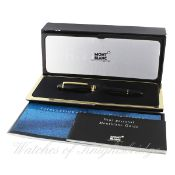 A MONTBLANC MEISTERSTUCK 146 CLASSIQUE FOUNTAIN PEN WITH ORIGINAL BOX & BOOKLETS Two tone 14k gold