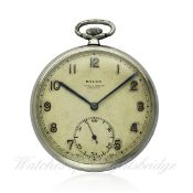 A GENTLEMAN`S STAINLESS STEEL ROLEX POCKET WATCH CIRCA 1920s, REF 3018 RETAILED BY COOKE & KELVEY