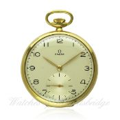A FINE GENTLEMAN`S 18K SOLID GOLD OMEGA POCKET WATCH CIRCA 1950s, REF 141 WITH ORIGINAL OMEGA