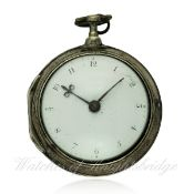 A GENTLEMAN`S SOLID SILVER PAIR CASED FUSEE VERGE POCKET WATCH CIRCA 1827 D: Enamel dial with