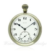 A RARE GENTLEMAN`S NICKEL CASED ROLEX MILITARY POCKET WATCH CIRCA 1930s D: White enamel dial with