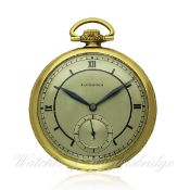 A GENTLEMAN`S 18K SOLID GOLD LONGINES POCKET WATCH CIRCA 1930s D: Silver dial with applied Roman