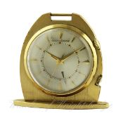 A GILT METAL JAEGER LECOULTRE ALARM TRAVEL / POCKET WATCH CIRCA 1970s D: Two piece champagne dial