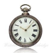 A GENTLEMAN`S SOLID SILVER PAIR CASED FUSEE VERGE POCKET WATCH CIRCA 1830 D: Enamel dial with