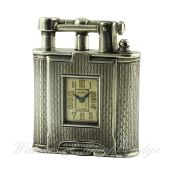 A RARE SOLID SILVER DUNHILL UNIQUE WATCH LIGHTER CIRCA 1927, REF. 1125 D: Silver dial with raised