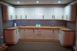 An Approx. 5M High Gloss Finished Galley Style Kitchen with Solid Wood Butchers Block Style Worktops