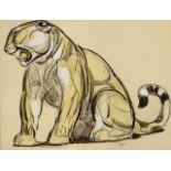 PAUL JOUVE (1878-1973) «Grande panthère» Dessin au crayon aquarelle et rehauts de gouache sur