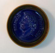 Kaiser-Portrait Keramikrelief in rundem Rahmen; bezeichnet: NEAPOLIO IMPERATOR; D: 10 cm