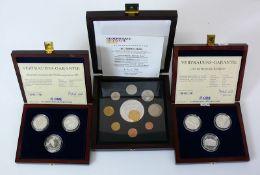 Reserve: 30 EUR        Div. Gedenkmünzen jeweils polierte PP; Bahnhöfe, Deutsche Währungsunion
