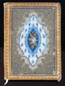 Reserve: 30 EUR        Notizblock (1.H.19.Jh.) Ledereinband mit Petit Point-Stickerei; innen mit