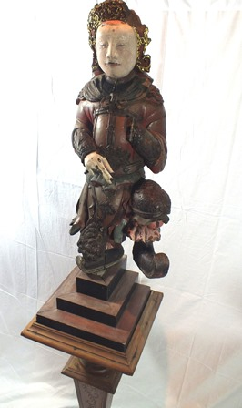 An 18th century Chinese God of War, depicted standing on one leg, carved wood polychrome painted, - Image 3 of 16