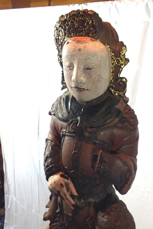 An 18th century Chinese God of War, depicted standing on one leg, carved wood polychrome painted, - Image 9 of 16