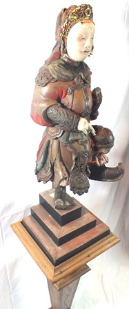 An 18th century Chinese God of War, depicted standing on one leg, carved wood polychrome painted, - Image 4 of 16