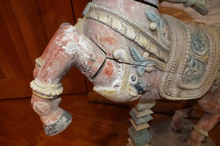 A pair of 19th century Indian carved wood rearing horses, polychrome painted on a white ground, with - Image 16 of 16