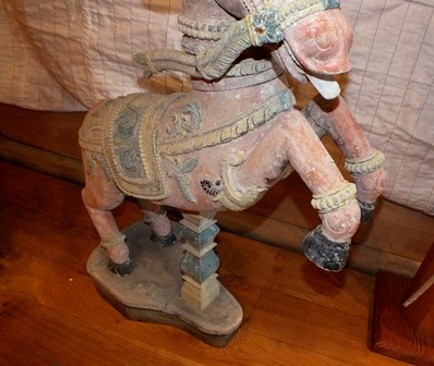 A pair of 19th century Indian carved wood rearing horses, polychrome painted on a white ground, with - Image 8 of 16
