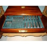 A comprehensive cased canteen of Old English and rat tail pattern silver cutlery, S & Co Ltd, London
