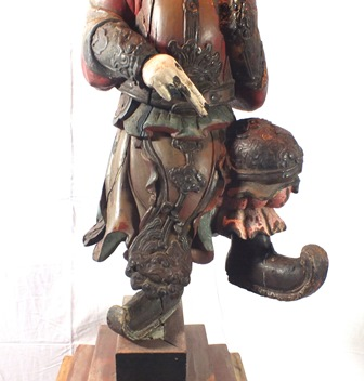 An 18th century Chinese God of War, depicted standing on one leg, carved wood polychrome painted, - Image 5 of 16
