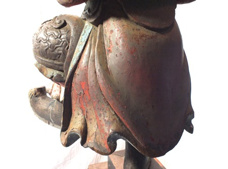 An 18th century Chinese God of War, depicted standing on one leg, carved wood polychrome painted, - Image 16 of 16