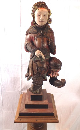 An 18th century Chinese God of War, depicted standing on one leg, carved wood polychrome painted, - Image 2 of 16