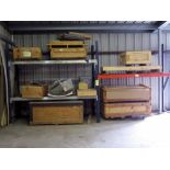 LOT OF MISC. FABRICATED ITEMS IN CRATES (contents of pallet rack only - pallet rack not included)