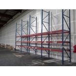 LOT OF STAND-UP RACKING, 20' uprights, 8' bars, w/wire decking