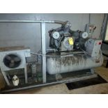 RECIPROCATING TYPE AIR COMPRESSOR, CAMPBELL  HAUSFELD, 25 HP 3-STAGE,  horiz. air receiver,