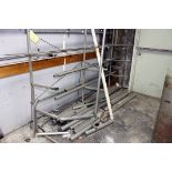 LOT OF TUBING in assorted sizes & FREE STANDING STORAGE RACK