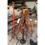 LOT OF TALL HELPER STANDS, WORKLIGHTS, ROLLING MATERIAL HELPER STAND