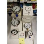 """LOT OF UNUSED PRESSURE GAUGES, (Approx. 13) ABCO, 2.5"""" - 4.0"""", 0-30 up to 0-10,000 PSI, 1/4"""" & ½"""""""