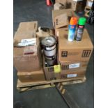 LOT 1 GAL. PAINT CANS & PAINT SPRAY CANS, red, gray & green, assorted  LOCATED IN HOUSTON, TX