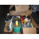 LOT OF SUPPLIES: batteries, electrical tape, funnels, belt dressing, Teflon tape, flashlights, rags,
