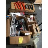 LOT OF SLEDGE HAMMERS, SCALERS, HAMMER WRENCHES, TOOLBOXES, STUB SPINDLE AXLES, TRAILER HUBS
