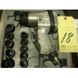 "PNEUMATIC IMPACT GUN, 1/2"", w/sockets"