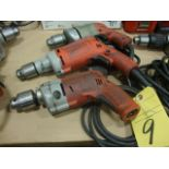 """LOT OF ELECTRIC DRILLS, MILWAUKEE 1/2"""", H.D., 120 v. (3)"""