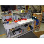 TOOL BENCH, w/tooling, collets, drill bits, fixtures, misc.