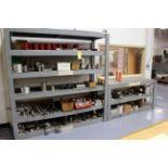 LOT OF FIXTURES: steel & aluminum  (on wooden shelf)
