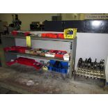 TOOL BENCH, w/tooling, collets, drill bits, misc.