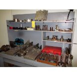 TOOL BENCH, w/tooling, collets, chuck, fixtures, misc.