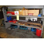 TOOL BENCH, w/tooling, collets, tie-down tooling, drill bits, misc.