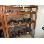 LOT CONTENTS OF WOODEN SHELF, w/tooling, rotary table, chuck, vise, etc.