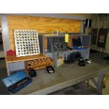 TOOL BENCH, w/tooling, collets, tie-down tooling, misc.