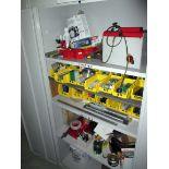 CABINET, w/toolposts, centers, fixtures, misc.