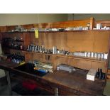 TOOL BENCH, w/tooling, collets, drill bits, jaws, misc.