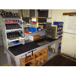 TOOL BENCH, w/tooling, collets, drill ext., drill bits, fixtures, misc.