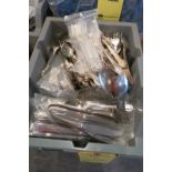 LOT OF STAINLESS FORKS, KNIVES & SPOONS, (295)