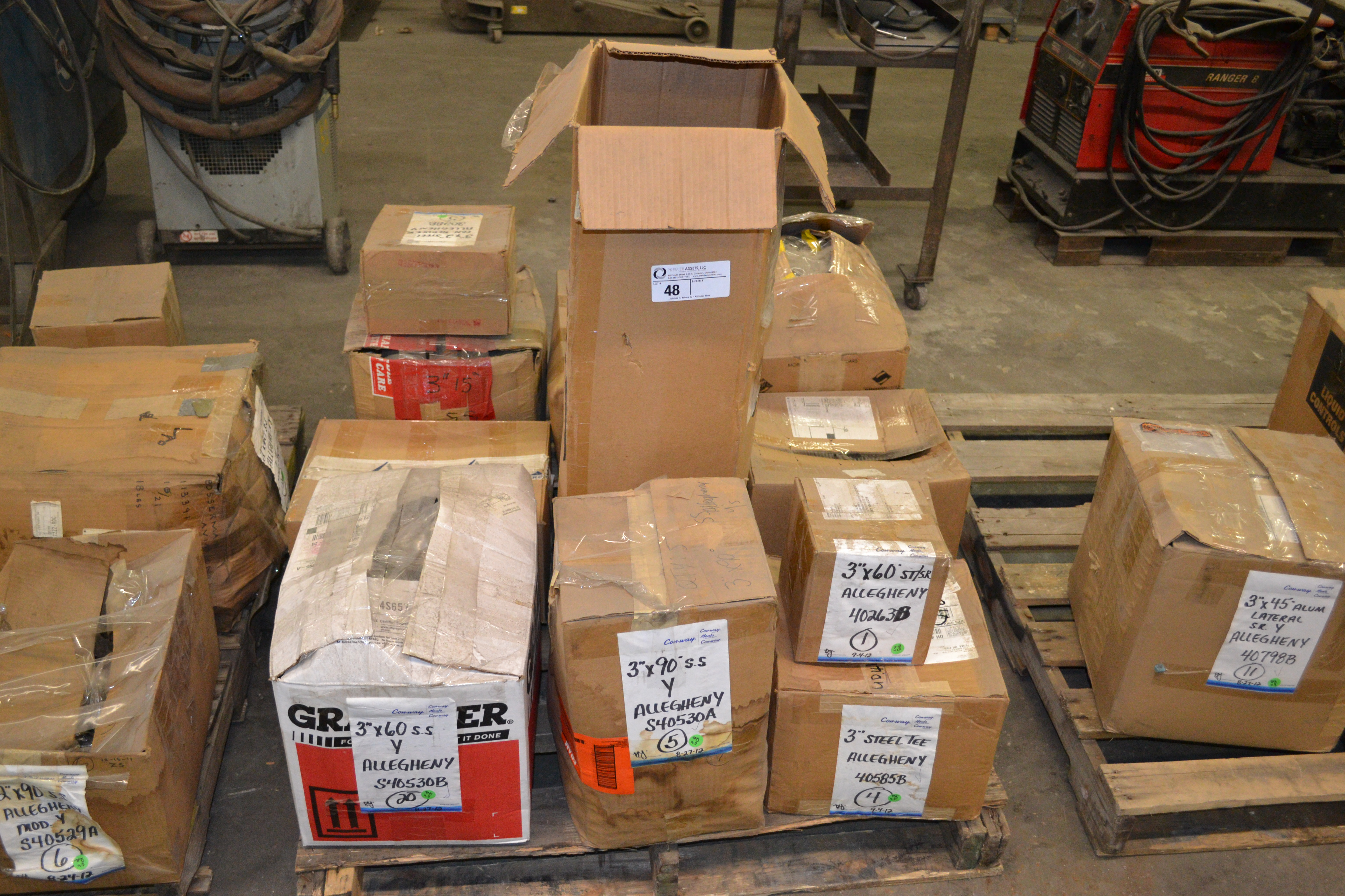 """Lot 48 - skid with boxes of Allegheny SS/SR & Steel 3"""" fittings, degrees - 60, 90, Tees, Cross,15, 30 &"""