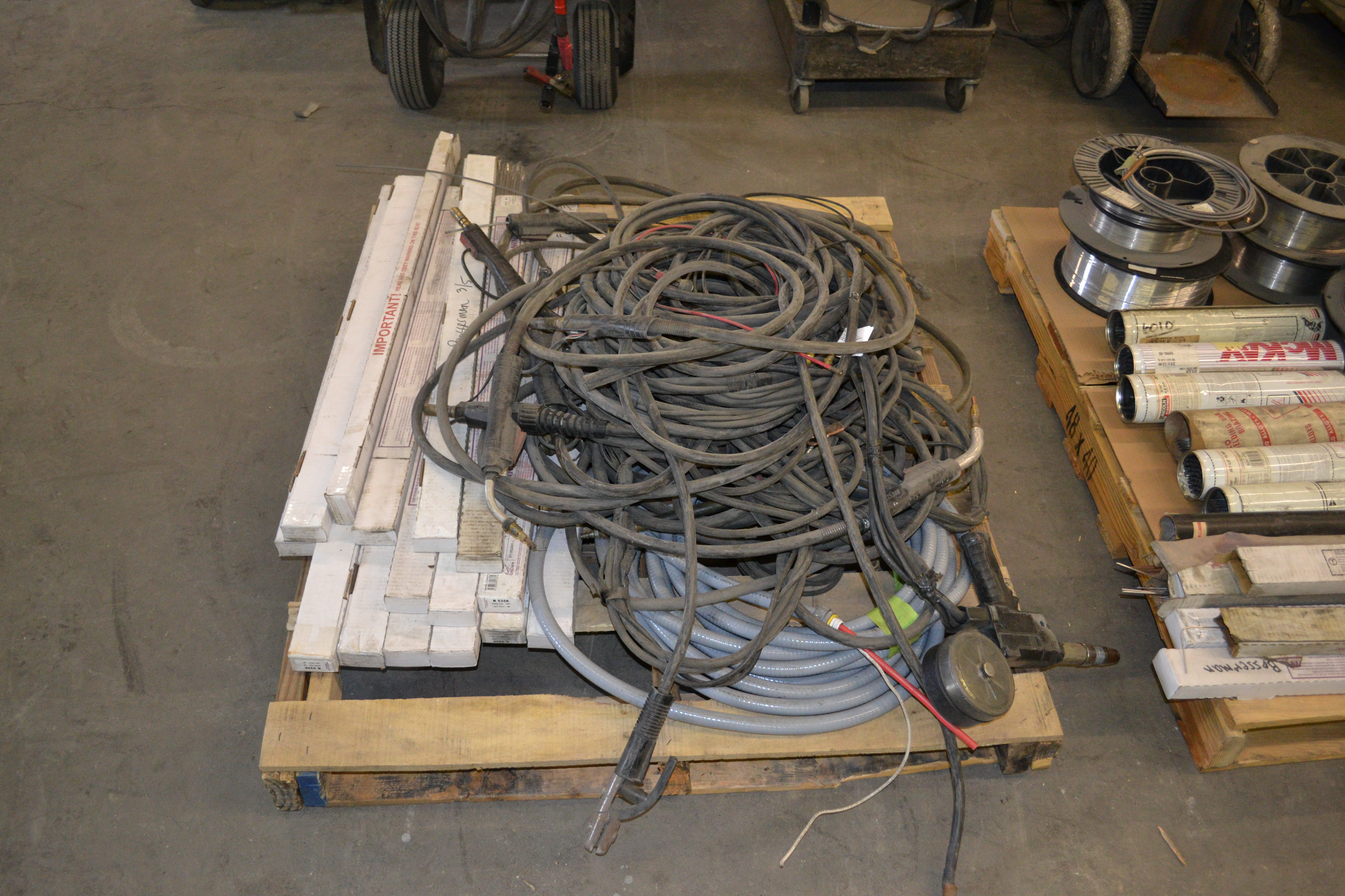 Lot 44 - skid of aluminum TIG rods (R 5356) & weld cables