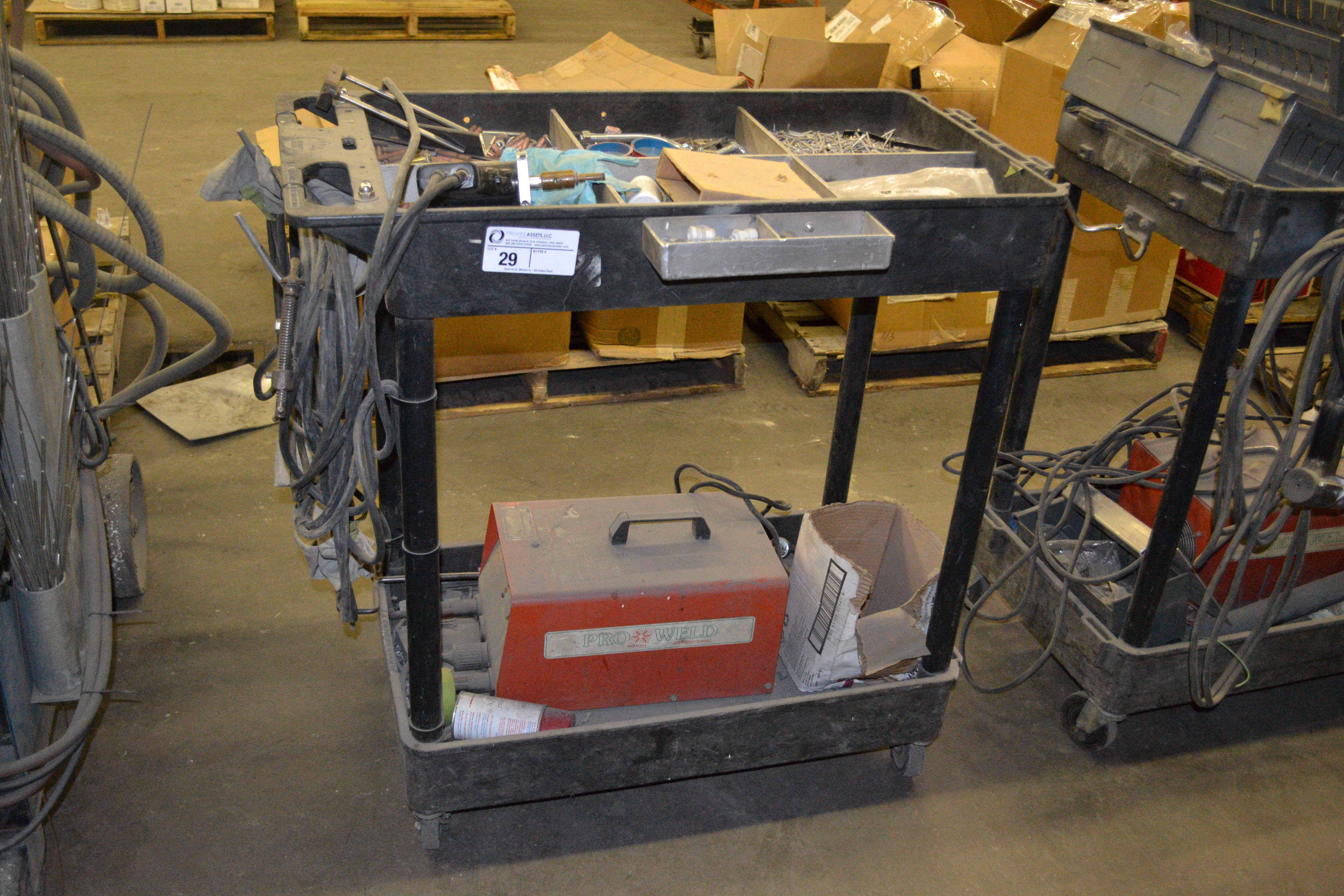 Lot 29 - cart with Pro Weld CD-312 welder and misc.